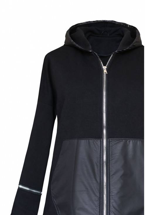 czarna bluza z suwakami - góra