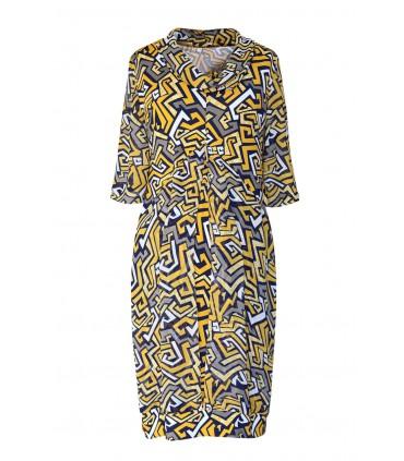 Żółta sukienka w geometryczne wzory - GESSERKA