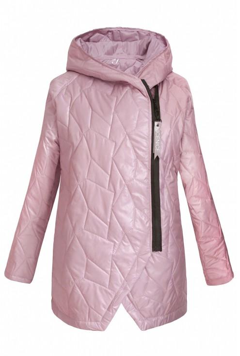 pudrowo-różowa pikowana kurtka dostępna w dużych rozmiarach