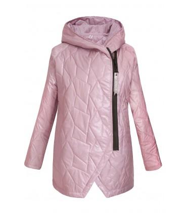 Pudrowo-różowa pikowana kurtka z kapturem - SISSY