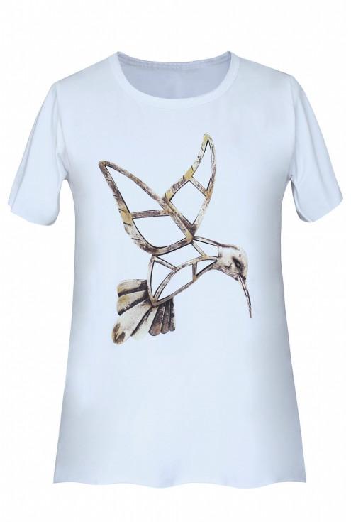 biała bluzka z kolibrem - xxl