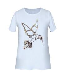 Biała bluzka z krótkim rękawem - wzór koliber - JENA