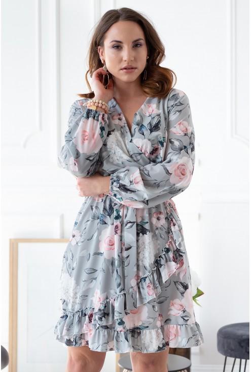miętowa sukienka w kwiaty xxl