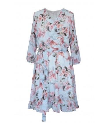 Jasno-niebieska sukienka w drobne różowe kwiaty - ADELITA