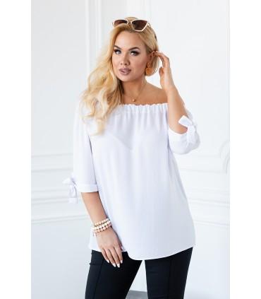 Biała bluzka hiszpanka z wiązanym rękawem NINA