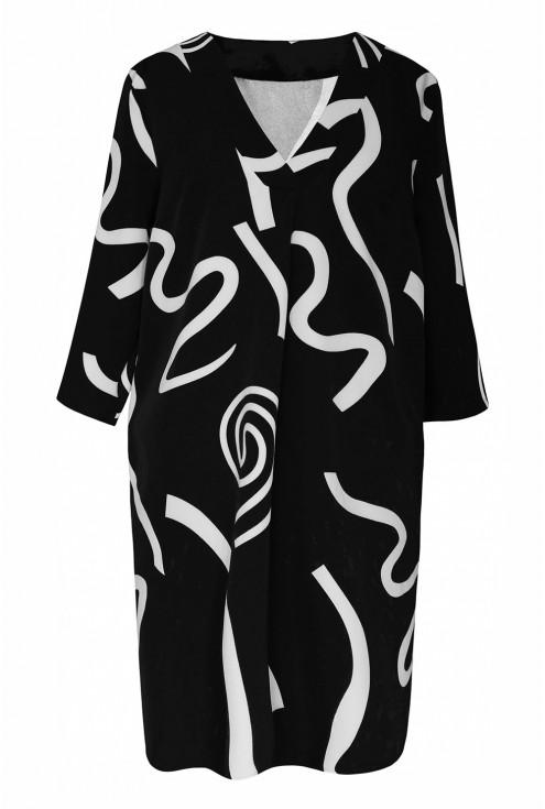Czarna sukienka przód białe wzory