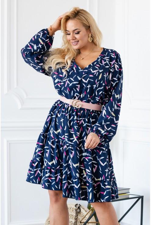 Granatowa sukienka z kolorowym wzorem w piórka - Maneliss