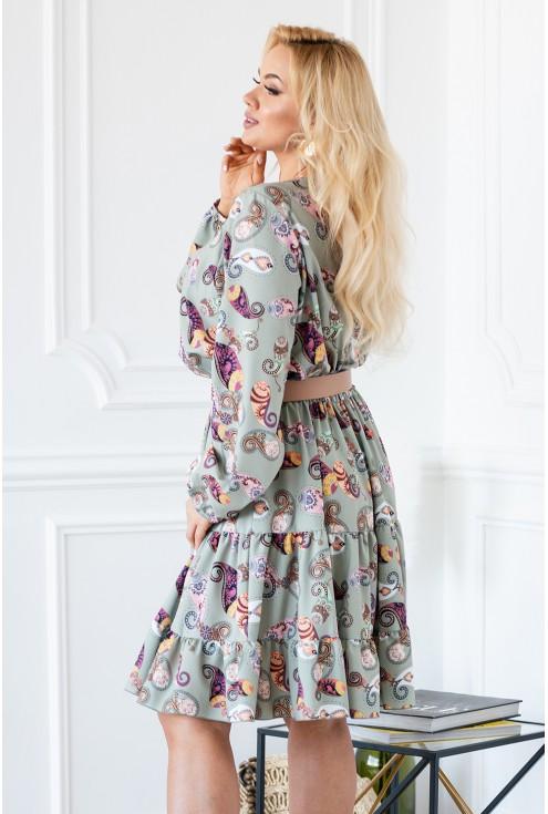 Oliwkowa sukienka boho z orientalnym wzorem - Maneliss