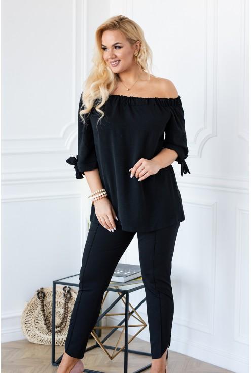 Bluzka hiszpanka czarna plus size wiązane kokardki na rękawkach