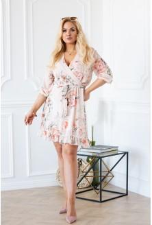 Brzoskwiniowa zmysłowa sukienka w kwiaty ADELITA