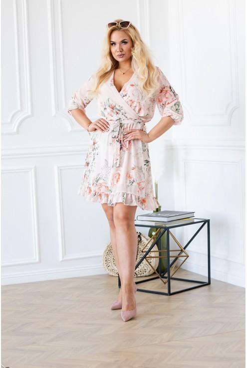 brzoskwiniowa sukienka w kwiaty ADELITA przód