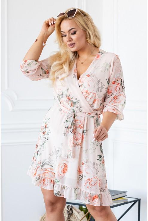 Kobieca sukienka ADELITA plus size brzoskwiniowa