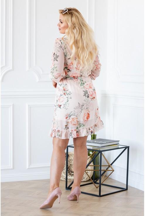 Tył sukienki ADELITA brzoskwiniowa w kwiaty