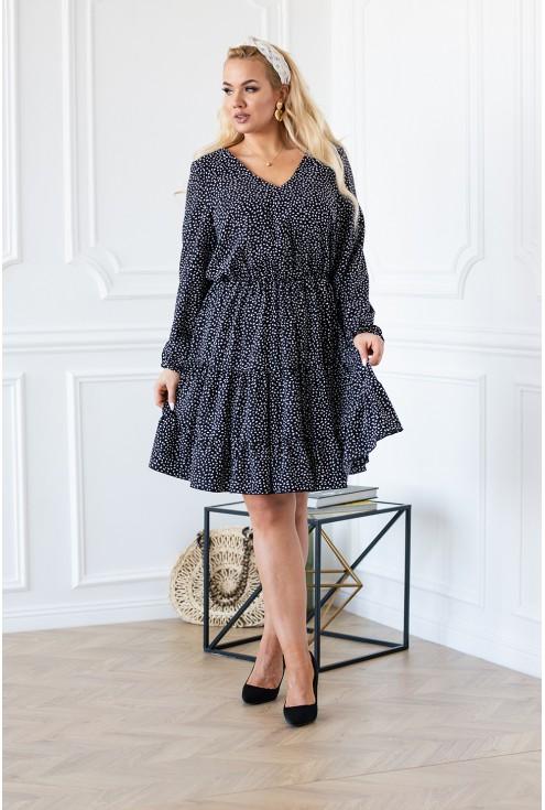 Sukienka RYAN II czarna z białym wzorem falbanki