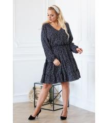 Czarna sukienka z białym wzorem - Maneliss