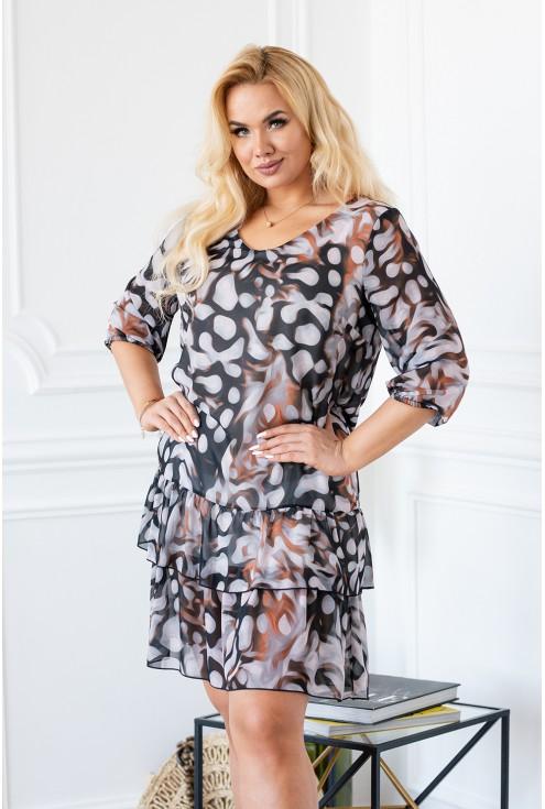 Kobieca sukienka plus size NAOMI pastelowe wzory