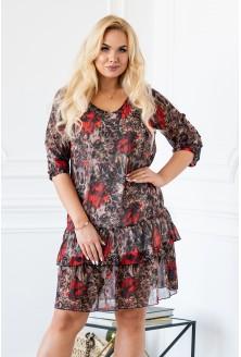 Sukienka NAOMI łączone wzory - maki i panterka