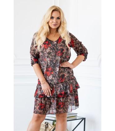 Sukienka z łączonym wzorem i falbankami - NAOMI