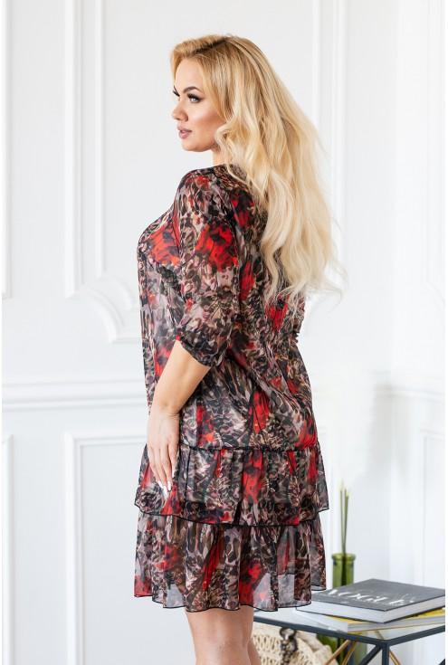 Tył sukienki NAOMI łączone wzory plus size