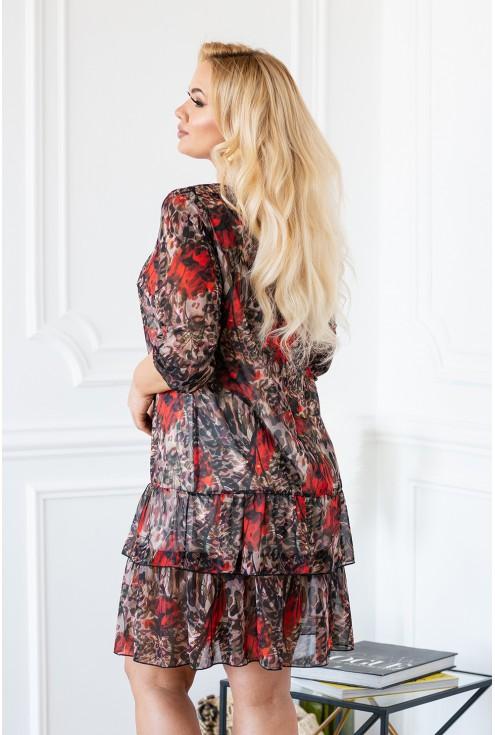 Sukienka z pazurem - łączony wzór kwiatów i panterki plus size