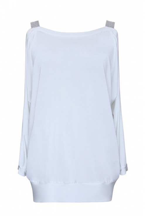 ashley biała romantyczna bluzka ze zdobieniami