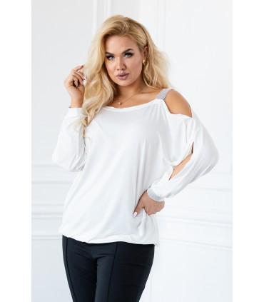 Kremowo/biała bluzka z diamentami - ASHLEY
