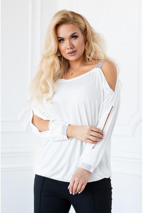 Biała bluzka ciekawe rękawy z pęknięciami xxl