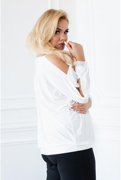 kobieca biała bluzka ashley zdobiona diamentami