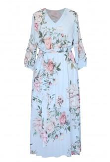 błękitna sukienka w róże xxl