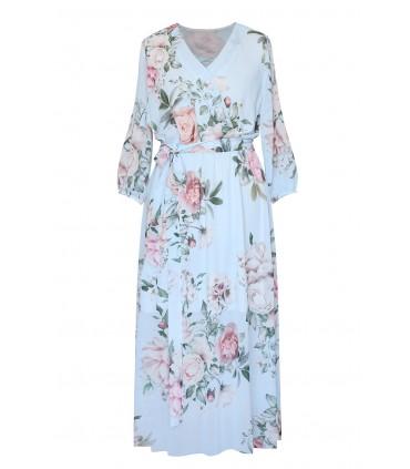 Błękitna sukienka maxi w róże - VALENTINA