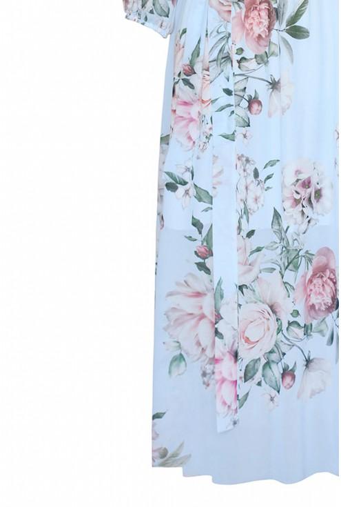 Wzór błękitnej sukienki w kwiaty valentina