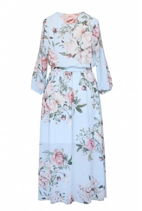 Tył błękitnej sukienki w pastelowe róże xxl
