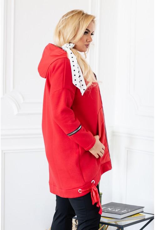 Czerwona zapinana bluza z kapturem i suwakami - ALESSANDRA