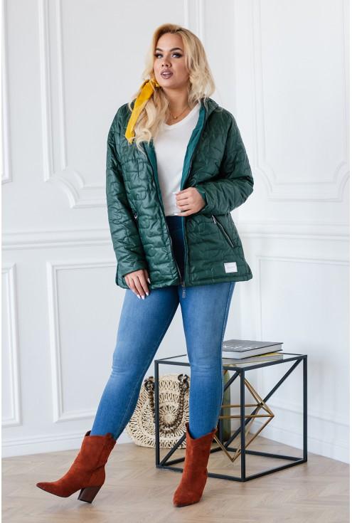 Butelkowa pikowana kurtka jesienna z kapturem - BRIDGET
