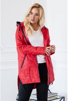 czerwona rozpięta kurtka plus size xxl