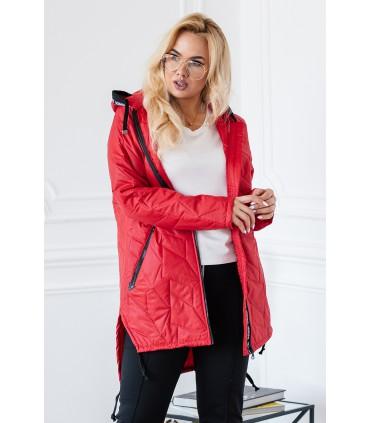 Czerwona kurtka z kapturem wstawki z napisami - NOELLE