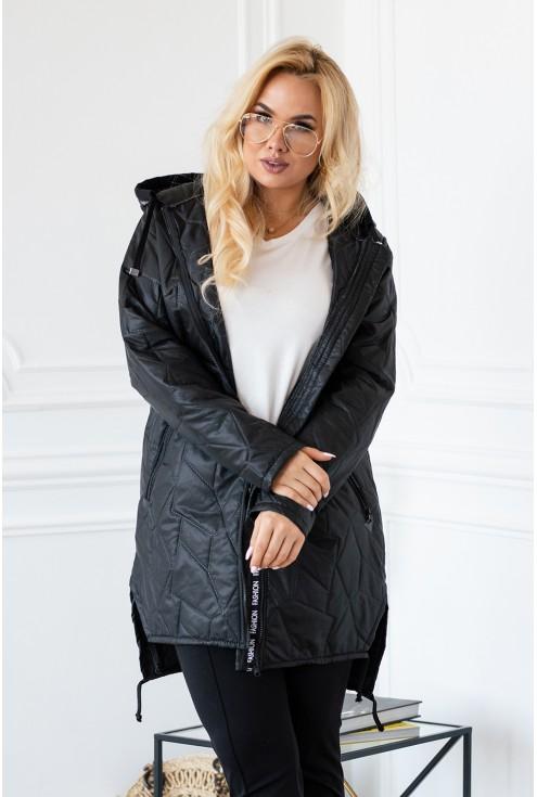 Dłuższa czarna kurtka xxl