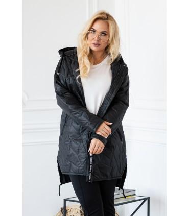 Czarna kurtka z kapturem wstawki z napisami rękawy dresowe - NOELLE