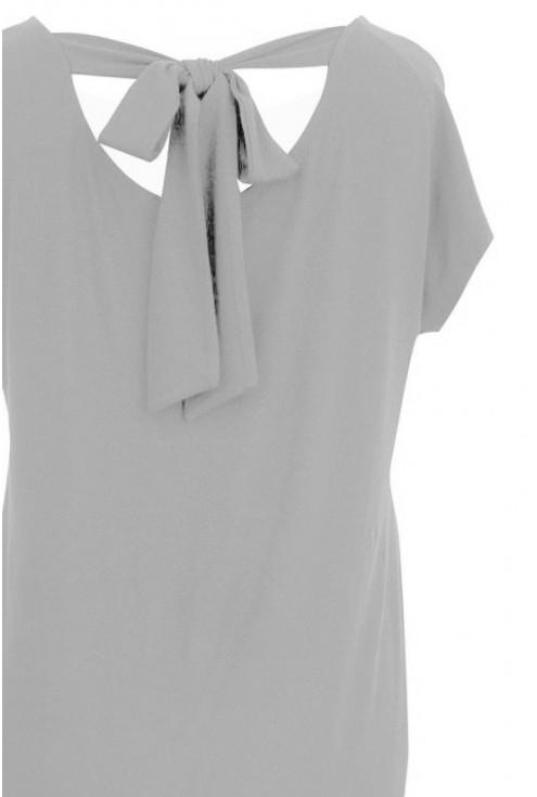 Gołębio szara sukienka wiązanie na plecach xxl