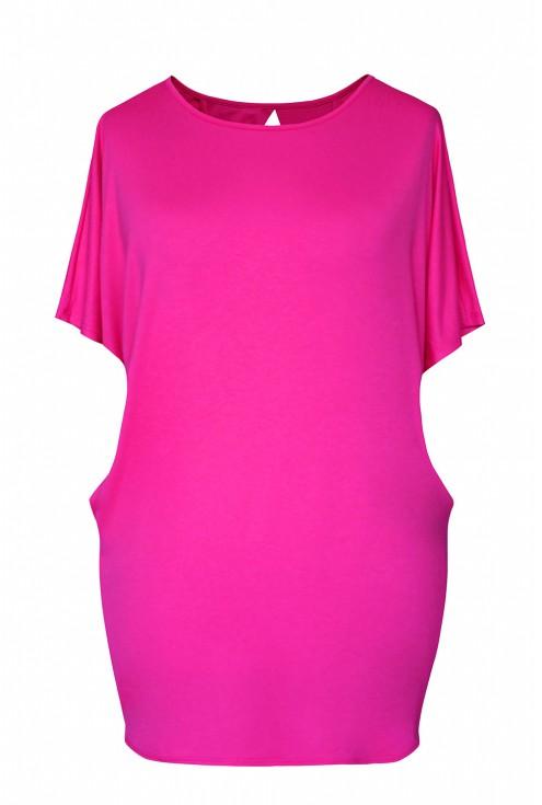 Różowa bluzka z łezką na plecach xxl