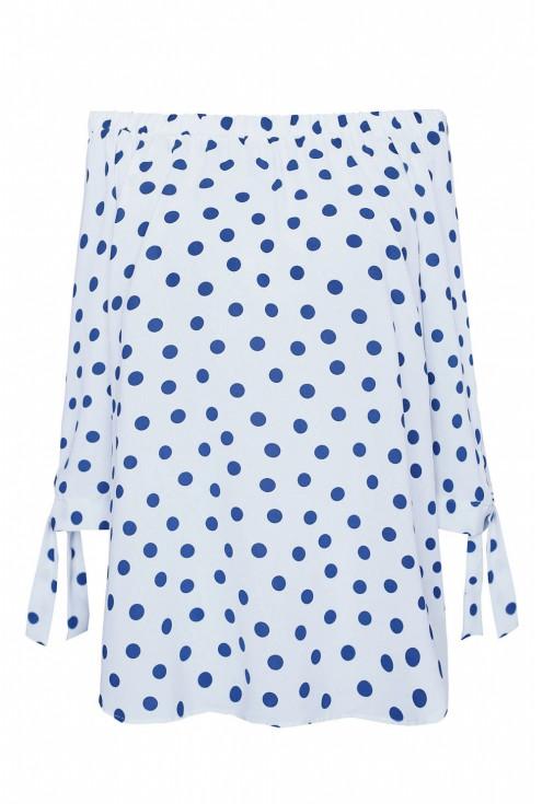 bluzka hiszpanka niebieskie groszki xxl