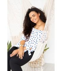Biała bluzka hiszpanka w niebieskie groszki - MARIBEL