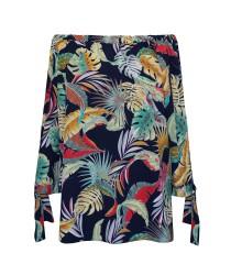 Czarna bluzka hiszpanka w kolorowe liście - MARIBEL
