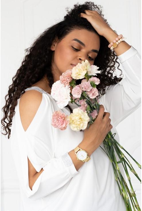biała bluzka z diamencikami ashley