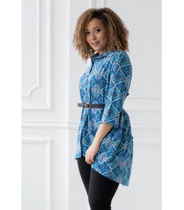 Niebieska koszula/tunika z orientalnym wzorem - ROSALIE