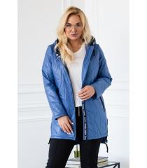 Niebieska kurtka z kapturem wstawki z napisami- NOELLE