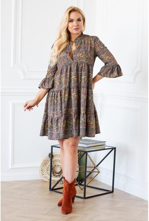 Sukienka boho z orientalnym wzorem i falbankami - SABINE