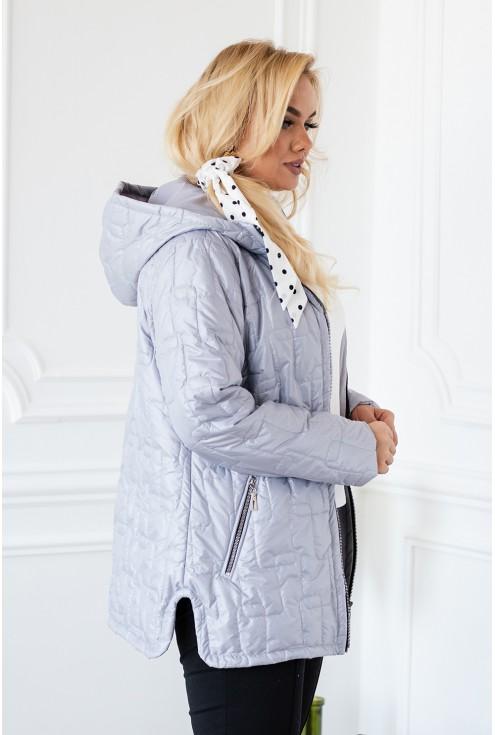 Szara pikowana kurtka z kapturem - BRIDGET