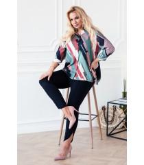 Kolorowa zapinana koszula z geometrycznym wzorem - PAMELA