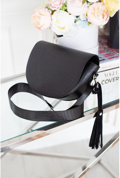 Czarna elegancka torebka motyw skóry węża